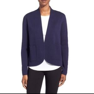 Eileen Fisher silk cotton knit jacket Navy PP/PTP